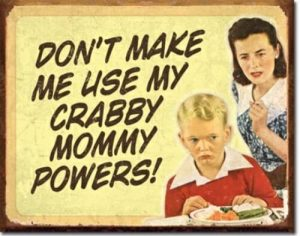 Mommy powers tin sign
