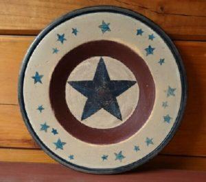 Folk Art Americana Wood Plate