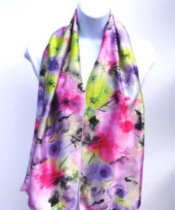 Satin scarf pink purple