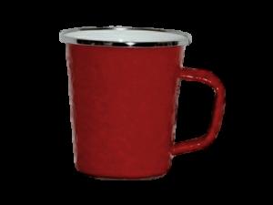 Red enamel late mug