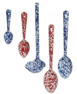 Enamelware spoon splatterware marbled 6 inch