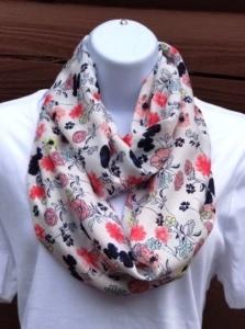 Summer infinity scarf peach flowers