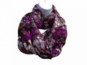 Infinity scarf purple print