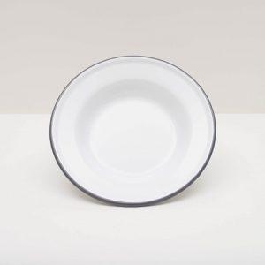 Vintage white enamel raised salad plate