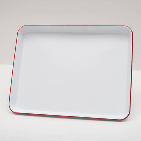 White enamelware jelly roll tray