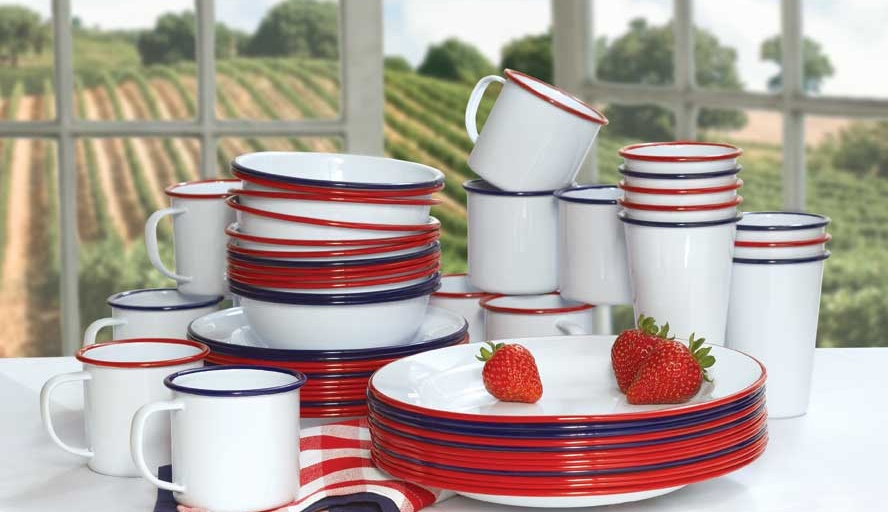 Vintage white enamelware dishes