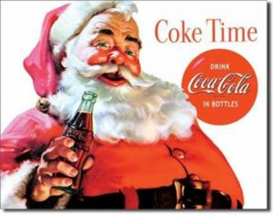 Classic Coca-Cola tin Santa Sign